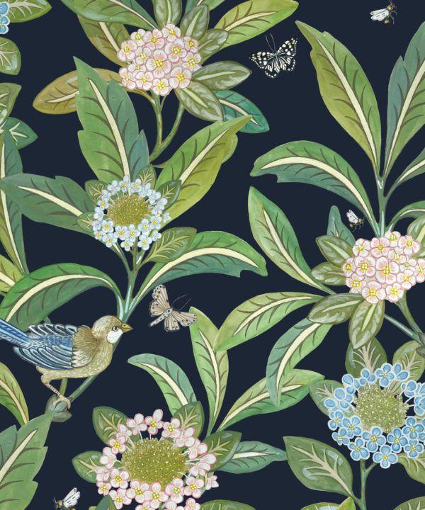 Summer Garden Wallpaper • Original Wallpaper • Floral Wallpaper Swatch