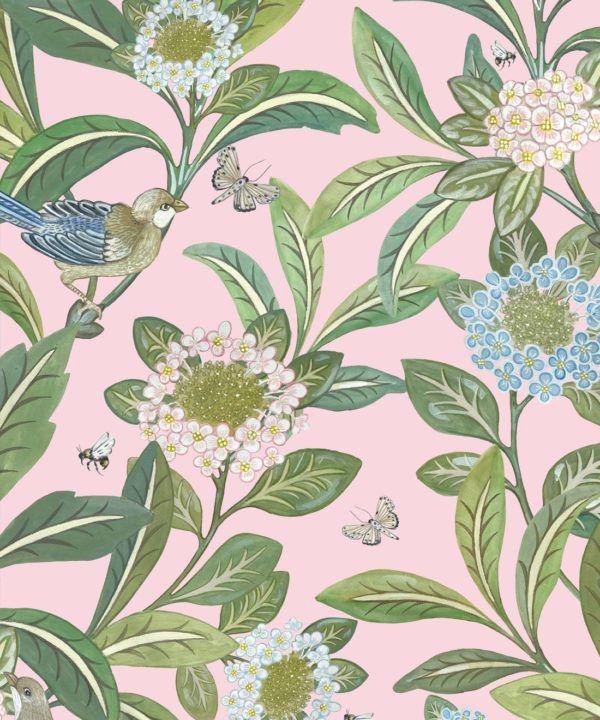Summer Garden Wallpaper • Pink Wallpaper • Floral Wallpaper Swatch