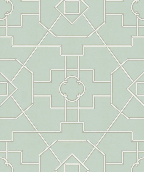Trellis Wallpaper • Geometric Wallpaper • Mint Green Wallpaper • Swatch