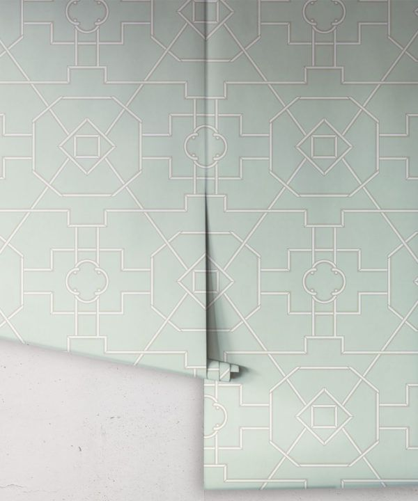 Trellis Wallpaper • Geometric Wallpaper • Mint Green Wallpaper • Rolls