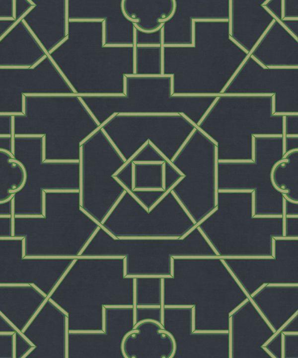 Trellis Wallpaper • Geometric Wallpaper • Charcoal Wallpaper • Swatch