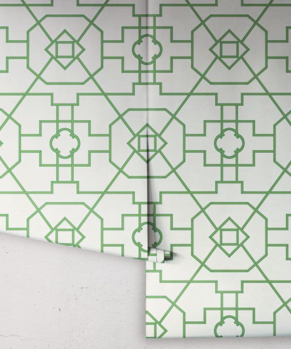 Trellis Wallpaper • Geometric Wallpaper • Ivory Wallpaper • Rolls