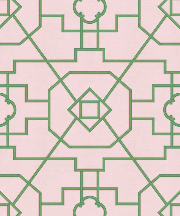 Trellis Wallpaper • Geometric Wallpaper • Pink Wallpaper • Swatch