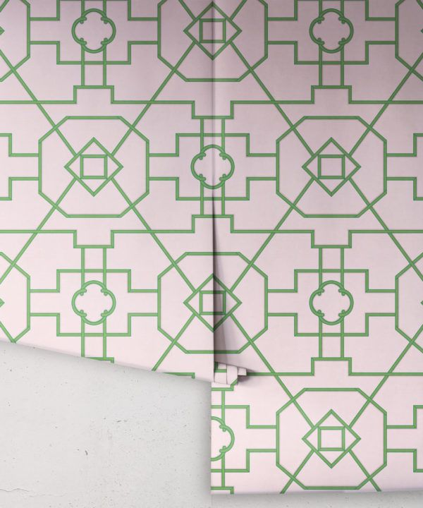 Trellis Wallpaper • Geometric Wallpaper • Pink Wallpaper • Rolls
