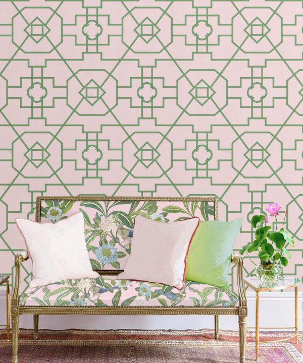Trellis Wallpaper • Geometric Wallpaper • Pink Wallpaper • Insitu