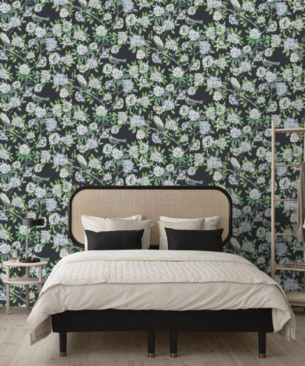 Victoria Wallpaper • Floral Wallpaper • Charcoal Wallpaper • Insitu behind bed