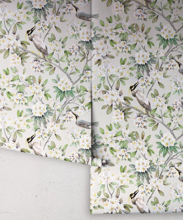 Victoria Wallpaper • Floral Wallpaper • Ivory Wallpaper • Rolls