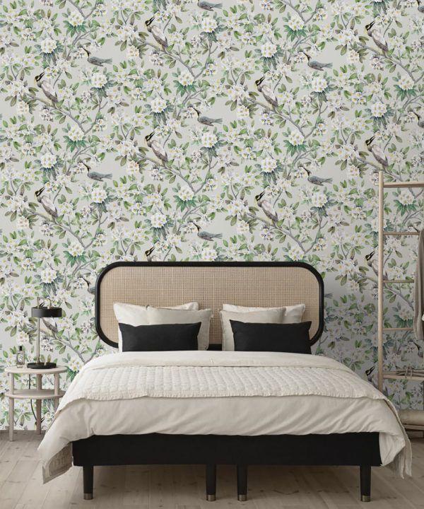 Victoria Wallpaper • Floral Wallpaper • Ivory Wallpaper • Insitu behind bed