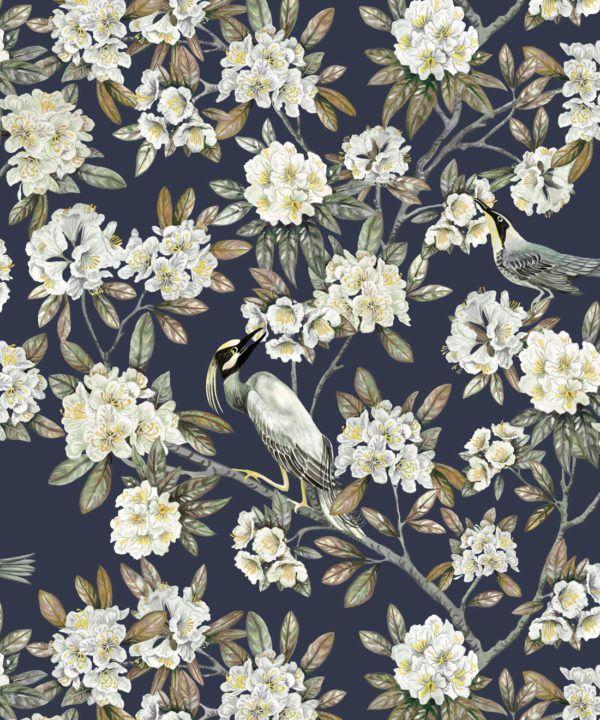 Victoria Wallpaper • Floral Wallpaper • Navy Wallpaper • Swatch