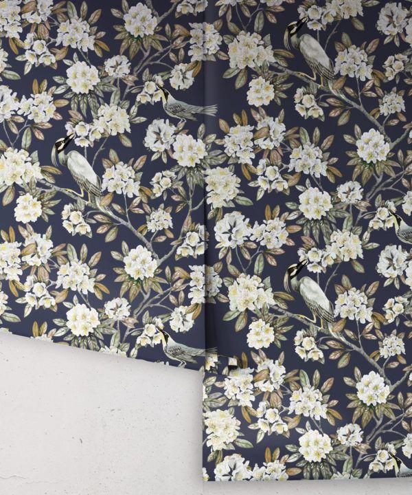 Victoria Wallpaper • Floral Wallpaper • Navy Wallpaper • Rolls