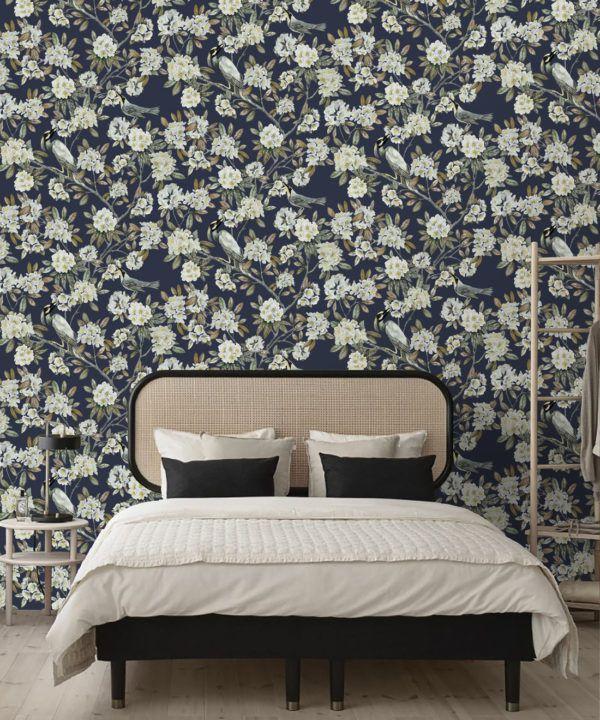 Victoria Wallpaper • Floral Wallpaper • Navy Wallpaper • Insitu behind bed