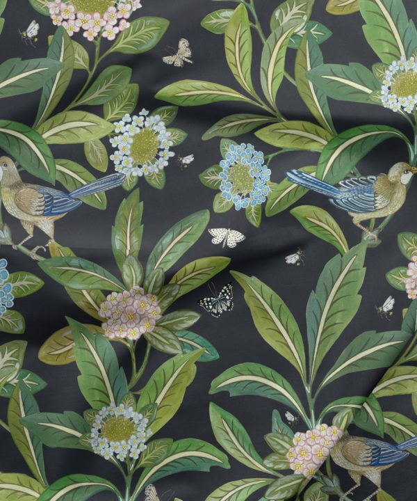 Summer Garden Fabric • Bethany Linz • Bird and Plant Fabric • Charcoal Upholstery Fabric