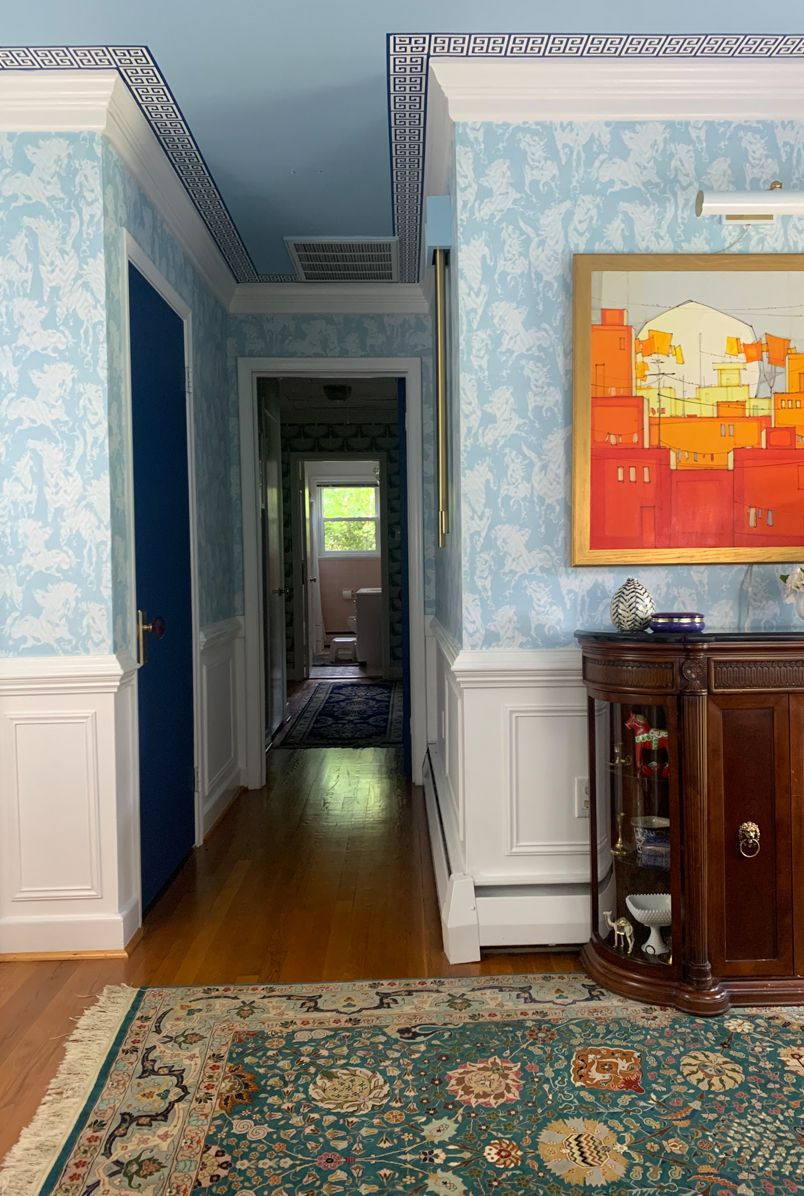 Entryway Refresh by Mehr Niazi using Stampede wallpaper from Milton & King