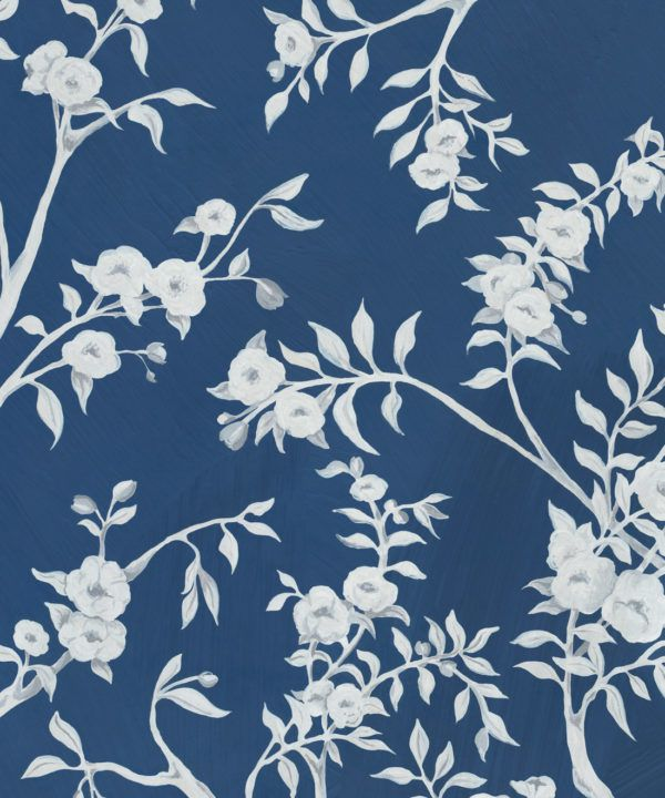 Blooming Joy • Chinoiserie Wallpaper by Danica Andler • Deep Blue Swatch