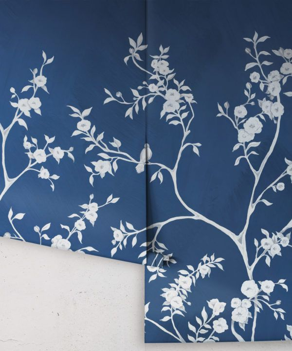 Blooming Joy • Chinoiserie Wallpaper by Danica Andler • Deep Blue Rolls