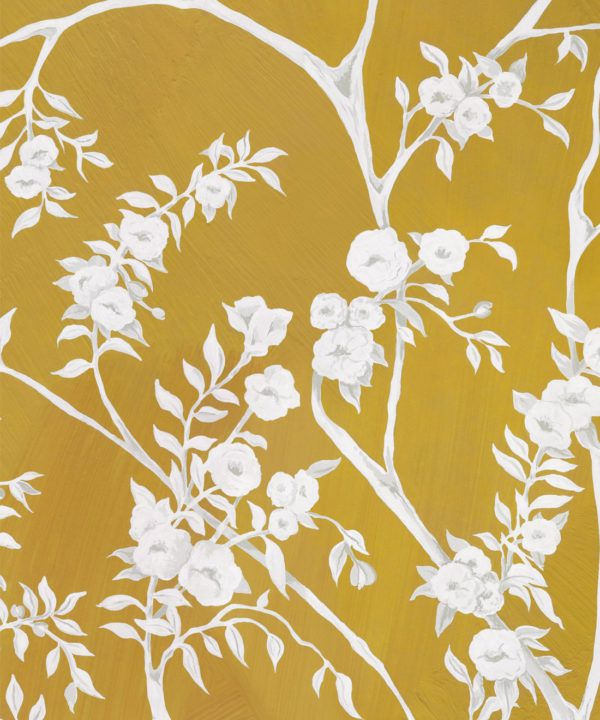 Blooming Joy • Chinoiserie Wallpaper by Danica Andler • Mustard Swatch