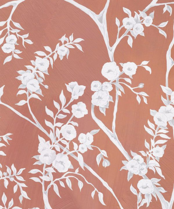 Blooming Joy • Chinoiserie Wallpaper by Danica Andler • Peach Swatch
