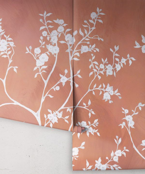 Blooming Joy • Chinoiserie Wallpaper by Danica Andler • Peach Rolls