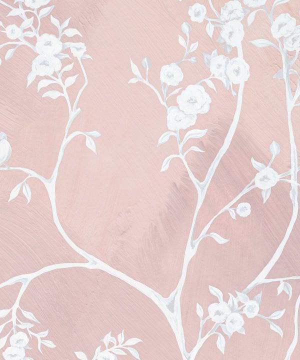 Blooming Joy • Chinoiserie Wallpaper by Danica Andler • Pink Blush Swatch