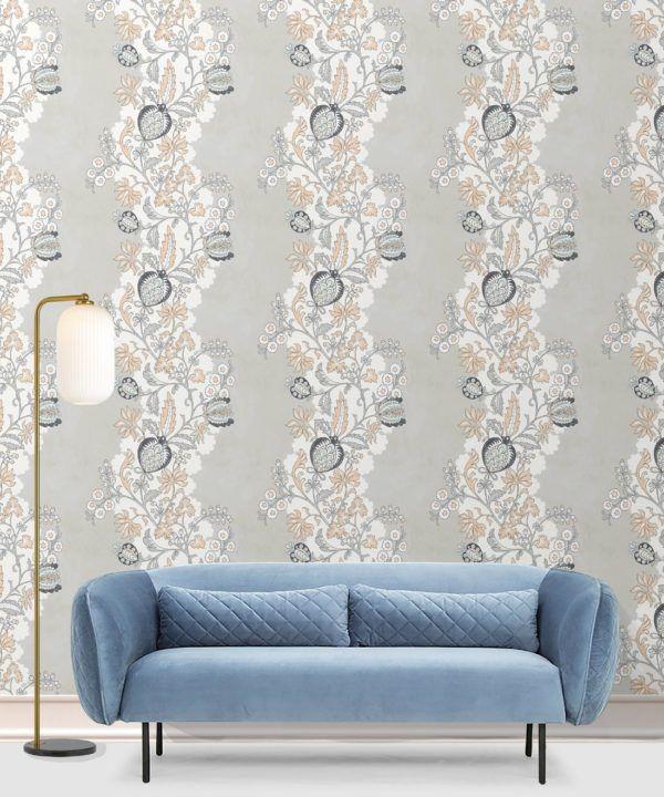 Pomegranate Wallpaper • salmon • Pomegranate Wallpaper • salmon • Insitu with blue sofa