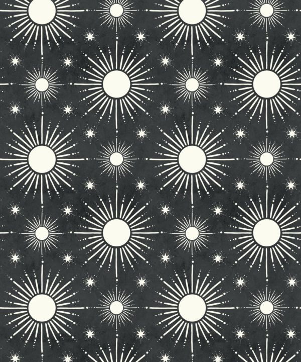 Sun Light Star Bright Wallpaper • Charcoal • Swatch