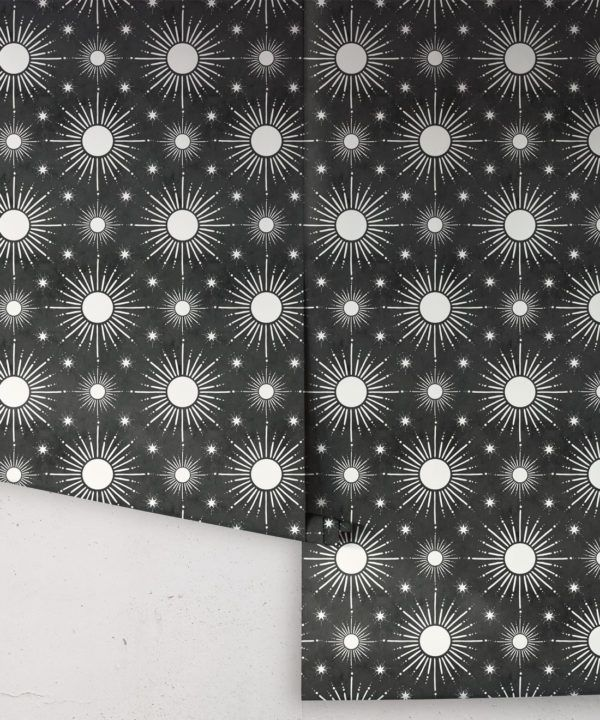 Sun Light Star Bright Wallpaper • Charcoal • Rolls