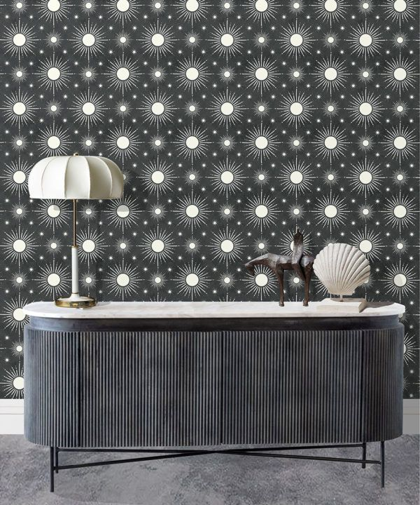 Sun Light Star Bright Wallpaper • Charcoal • Insitu
