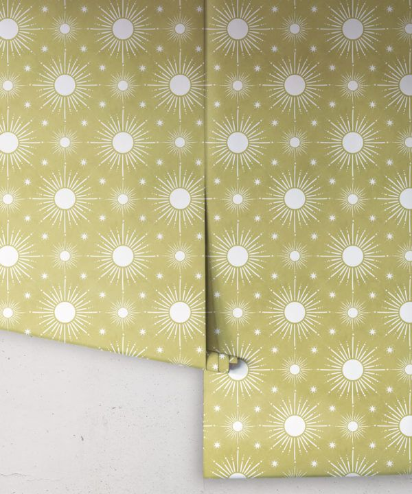 Sun Light Star Bright Wallpaper • Chartreuse • Rolls