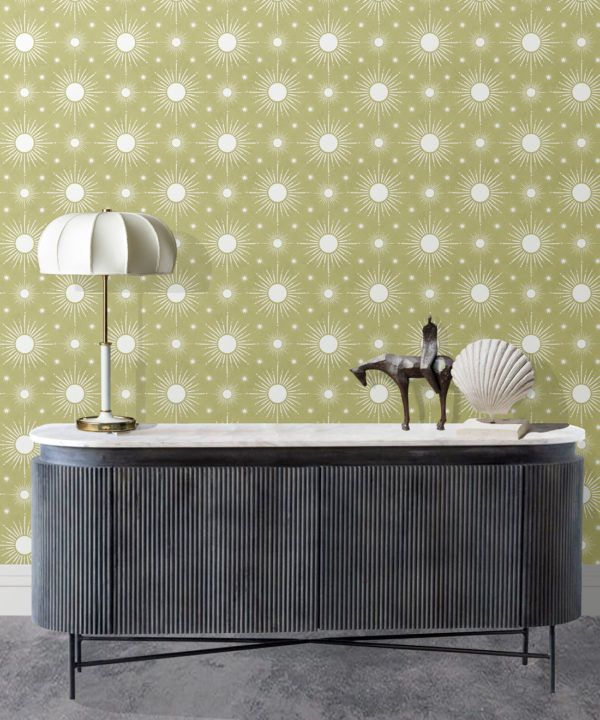 Sun Light Star Bright Wallpaper • Chartreuse • Insitu