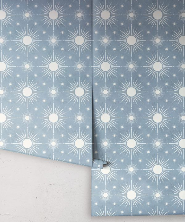 Sun Light Star Bright Wallpaper • French Blue• Rolls