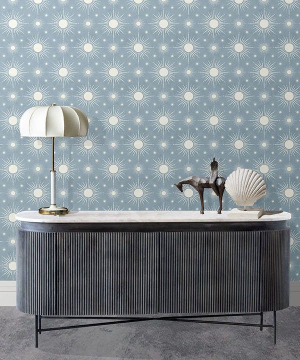 Sun Light Star Bright Wallpaper • French Blue• Insitu