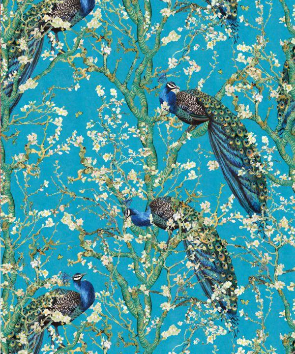 Almond Blossom Wallpaper • Chinoiserie Wallpaper • Wallpaper with Peacocks • Light Blue Duck Egg Wallpaper •Swatch