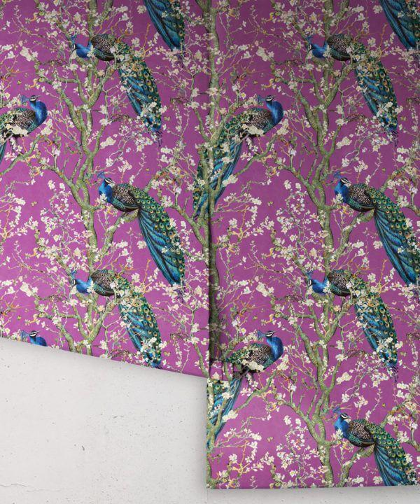 Almond Blossom Wallpaper • Chinoiserie Wallpaper • Wallpaper with Peacocks • Purple Eggplant Wallpaper •Rolls