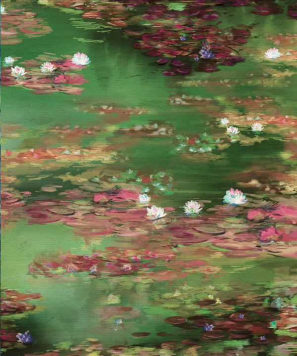 Water Lillies Wallpaper • Abstract Wallpaper • Dreamy Wallpaper • Green Fairy Wallpaper • Swatch