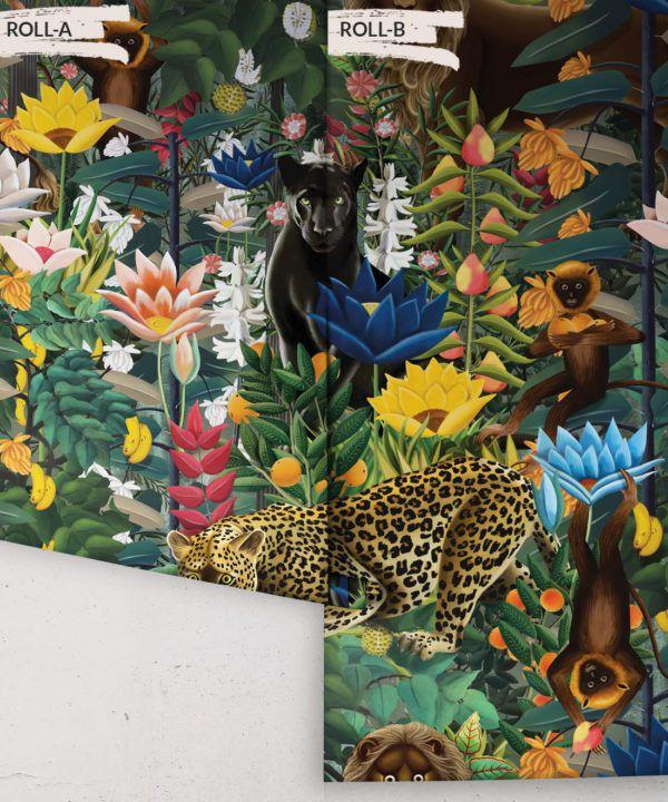 The Jungle Wallpaper • Animal Wallpaper • Botanical Wallpaper • Night Wallpaper • Rolls