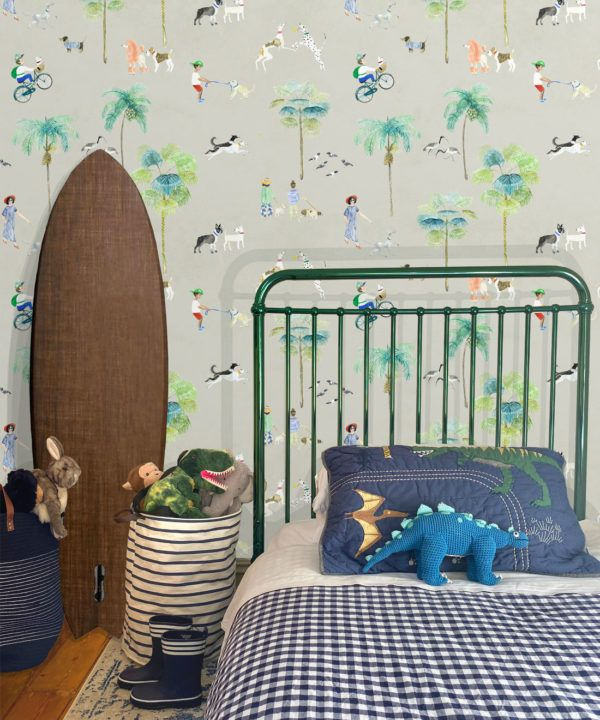 At The Dog Park Wallpaper •Kids Wallpaper • Beige • Insitu