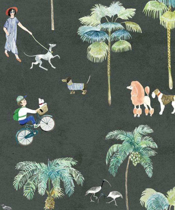 At The Dog Park Wallpaper •Kids Wallpaper • Charcoal • Swatch