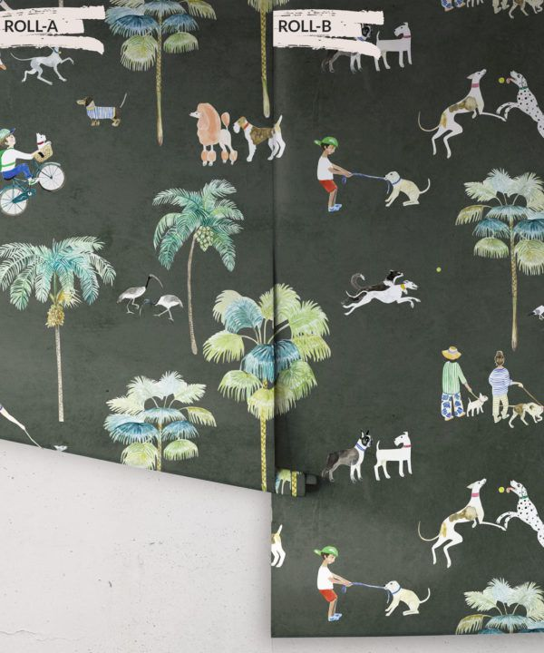 At The Dog Park Wallpaper •Kids Wallpaper • Charcoal • Rolls