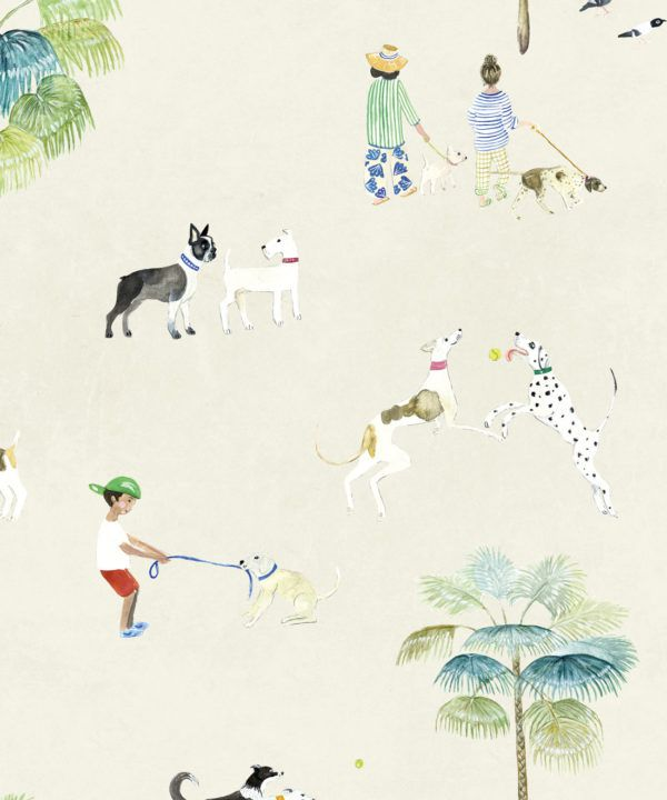 At The Dog Park Wallpaper •Kids Wallpaper • Cream • Swatch