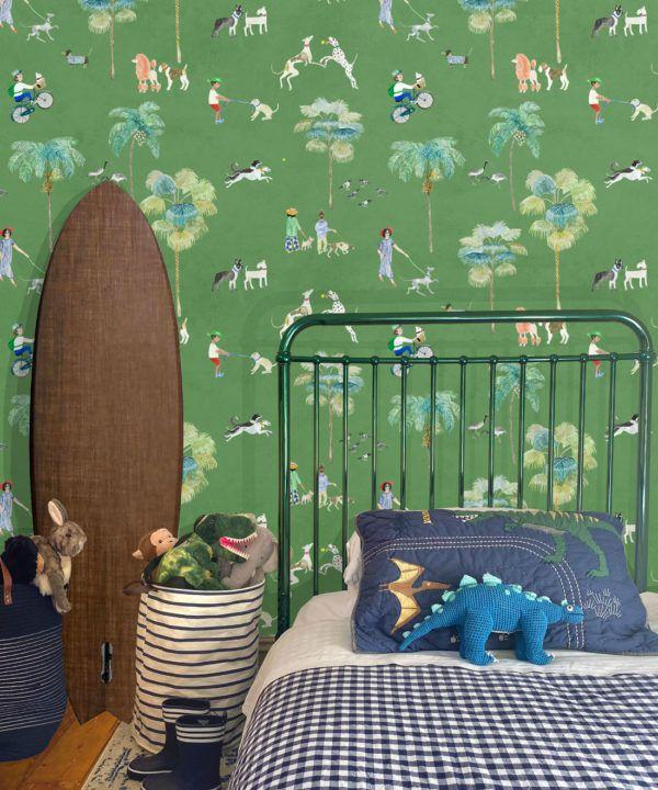 At The Dog Park Wallpaper •Kids Wallpaper • Green • Insitu