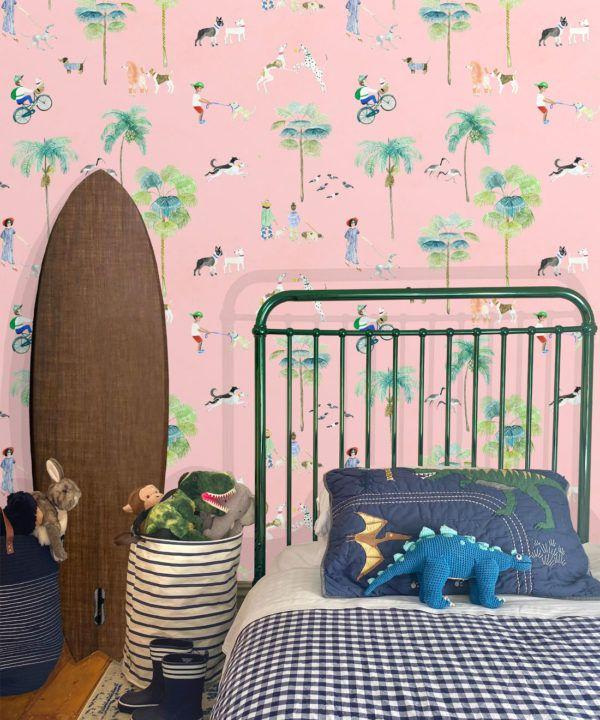 At The Dog Park Wallpaper •Kids Wallpaper • Pink • Insitu