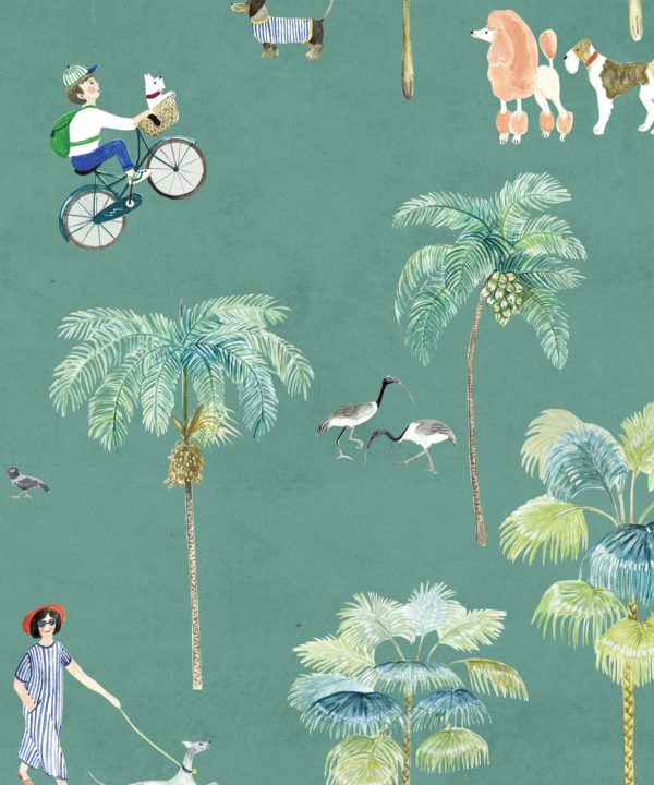 At The Dog Park Wallpaper •Kids Wallpaper • Turquoise • Swatch