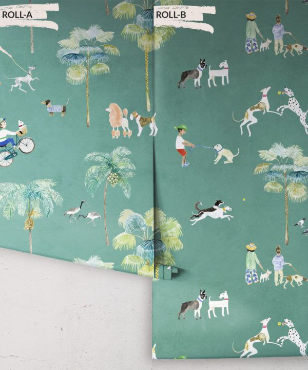At The Dog Park Wallpaper •Kids Wallpaper • Turquoise • Rolls