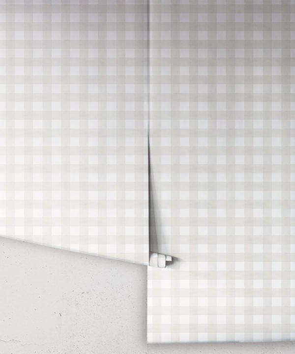 Check Wallpaper • Beige •Rolls