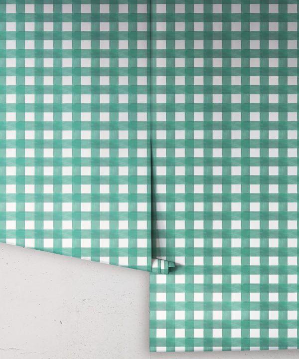 Check Wallpaper • Turquoise •Insitu