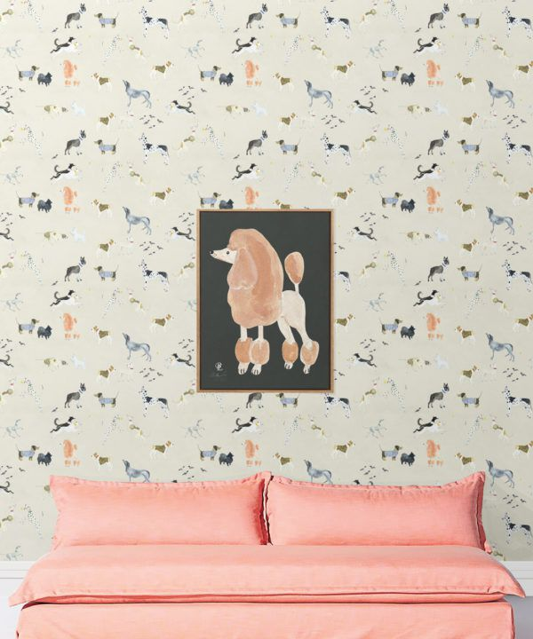 Doggies Wallpaper •Dog Wallpaper •Cream • insitu with pink sofa