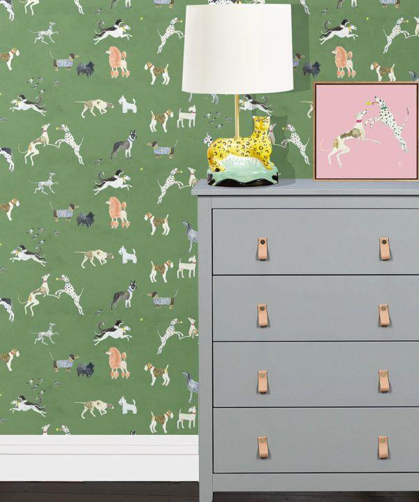 Doggies Wallpaper •Dog Wallpaper •Green • insitu with lamp and dresser