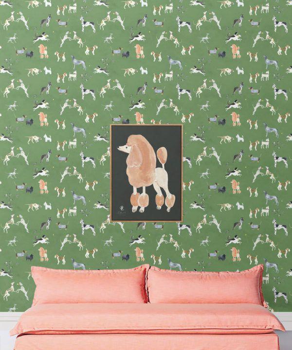 Doggies Wallpaper •Dog Wallpaper •Green • insitu with pink sofa