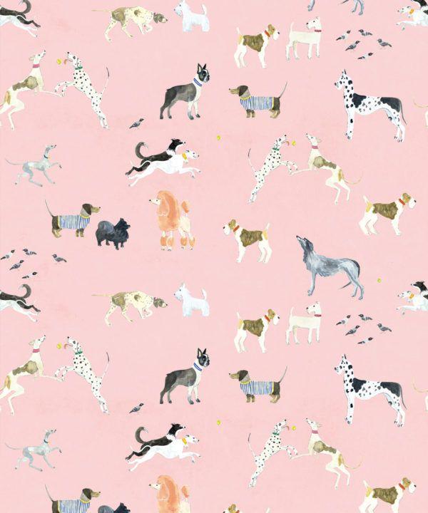 Doggies Wallpaper •Dog Wallpaper •Pink • Swatch