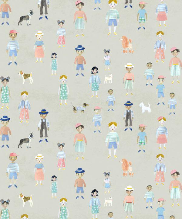 Paper Dolls wallpaper • Beige • Swatch
